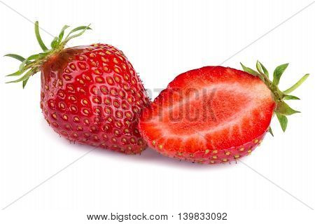 Two ripe close-up ripe strawberries isolated on white background