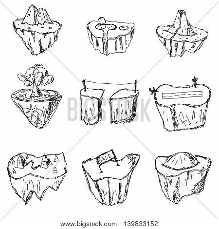 Hand drawn set of flying islands. Landscape cartoon nature land fantasy rock and ground and mountain for game. Vector illustration.