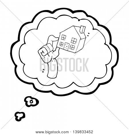 freehand drawn thought bubble cartoon housing market