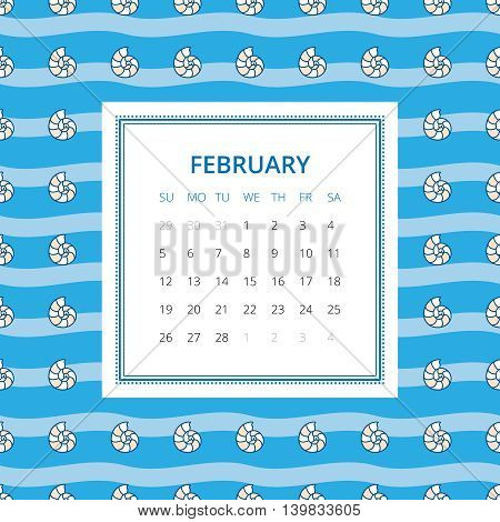 February 2017. One month calendar vector template in a page, square format. Hand drawn seamless pattern on background. Week starts on Sunday. Blue and white colors