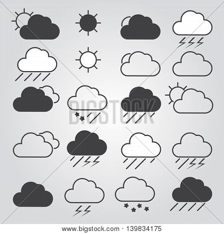 Set of weather icons. Clouds. Vector illustration.