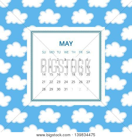 May 2017. One month calendar vector template in a page, square format. Hand drawn seamless pattern on background. Week starts on Sunday. Blue and white colors