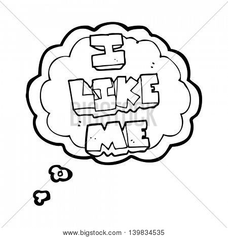 freehand drawn thought bubble cartoon i like me symbol