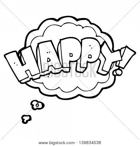 freehand drawn thought bubble cartoon happy text symbol