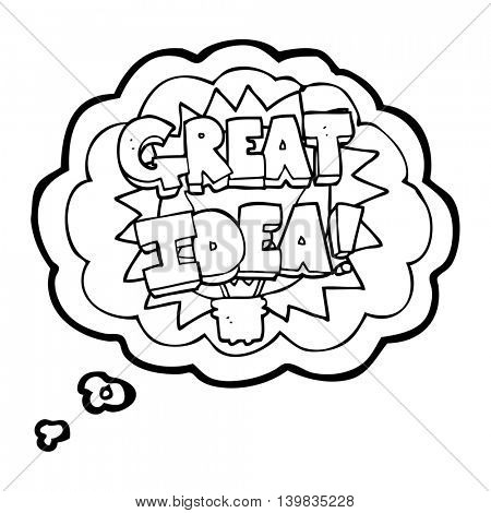 freehand drawn thought bubble cartoon GREAT IDEA! symbol