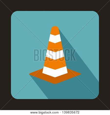 Traffic cone icon in flat style on a baby blue background