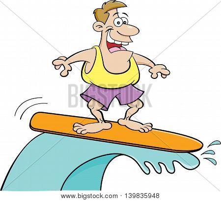 Cartoon illustration of a smiling man surfing.