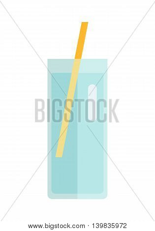Glass with sweet beverage vector in flat style design. Sweet summer drinks concept. Illustration for app icons, label, prints, logo, menu design, infographics. Isolated on white background.