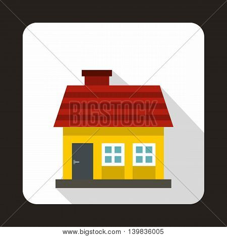 Small yellow cottage icon in flat style on a white background