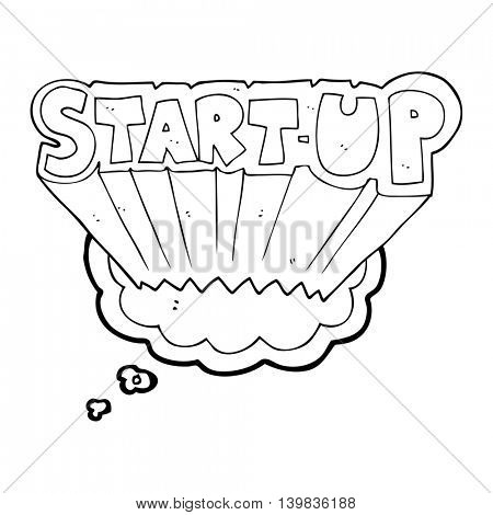 freehand drawn thought bubble cartoon startup symbol