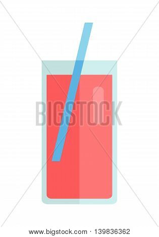 Glass with sweet beverage, juice vector in flat style design. Sweet summer drinks concept. Illustration for app icons, label, print, logo, menu design, food infographics. Isolated on white background.