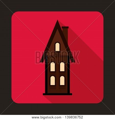 Two storey cottage icon in flat style on a pink background