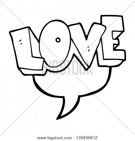 freehand drawn speech bubble cartoon love symbol