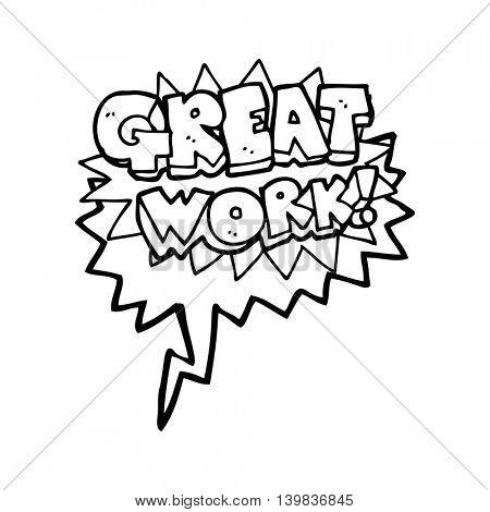 freehand drawn speech bubble cartoon great work symbol