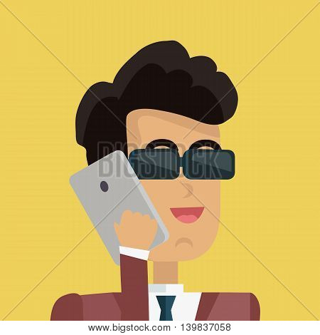 Businessman avatar icon isolated on yellow background. Man in sunglasses with black hair in business suit and tie holds phone to his ear. Smiling young man personage. Flat design vector illustration