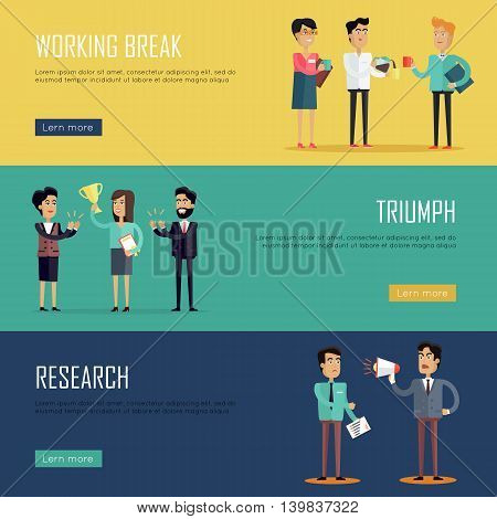 Social teamwork concept. Concepts for business research, strategic management, finance, team triumph, working break. Page website design template in flat. Banner, landing page. Vector illustration.