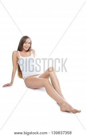 Happy Girl With Long Legs Against White Background