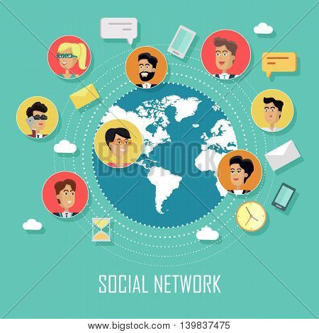 Social network and teamwork concept in flat design. Avatars of men and women with devices for communication between business people on a background with planet. Vector illustration