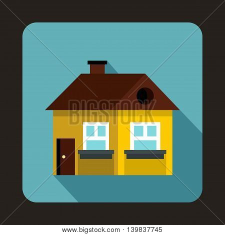 Yellow cottage icon in flat style on a baby blue background
