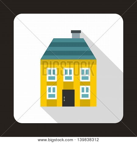Yellow two storey house icon in flat style on a white background