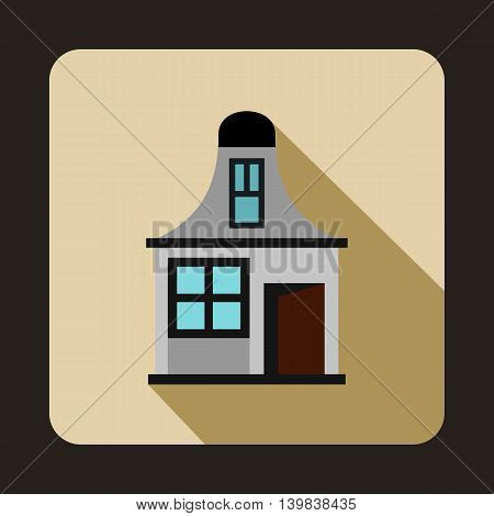 Gray cottage icon in flat style on a beige background