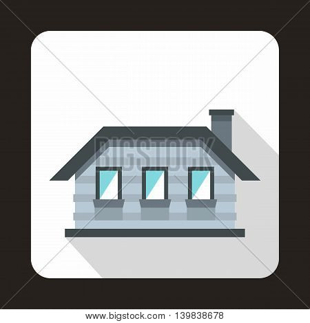 Gray cottage icon in flat style on a white background