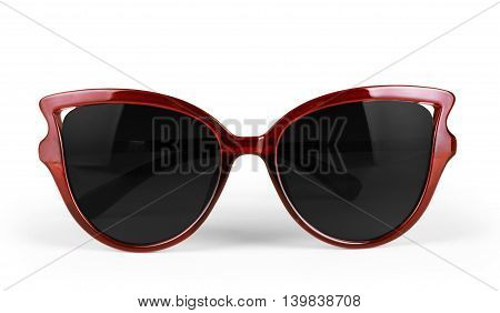Red sun glasses isolated over the white background