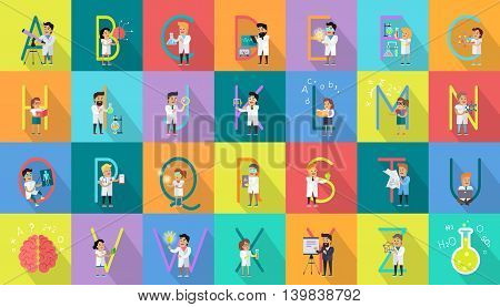 Alphabet science concept. Flat design. ABC vector with scientists at work. Simple colored letters and scientist character collection. Concepts for childrens book, scientific research illustrating.