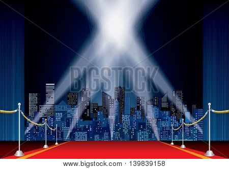 stage with red carpet, night cityscape, vector skylines