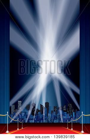 vertical stage, blue curtain, red carpet, cityscape skylines, vector background