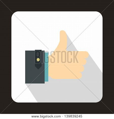 Thumb up gesture icon in flat style on a white background
