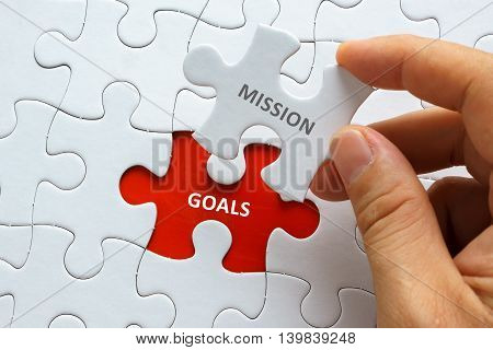 Hand Holding Piece Of Jigsaw Puzzle With Word Mission Goals.