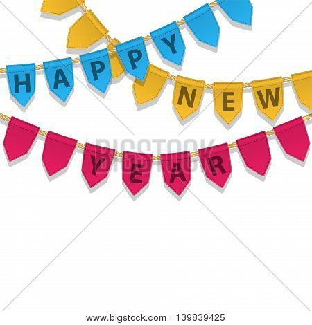 Bunting decoration with Happy New Year text. Colorful garland pennants on a rope for party carnaval festival celebration special events. Holiday vector background.