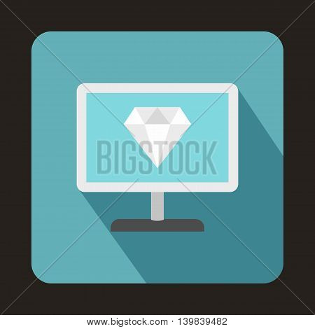 Computer monitor with a diamond icon in flat style on a baby blue background