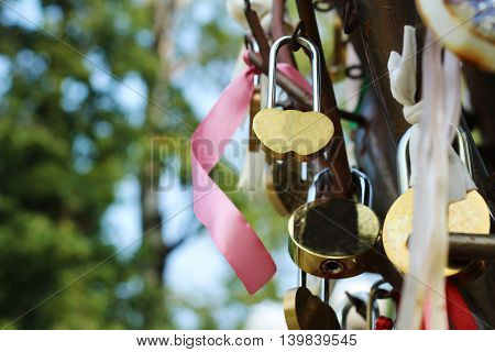 wedding lock happy and love objects in the park.