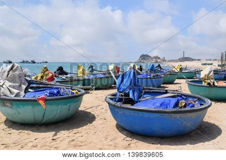 ke ga beach and traditional basket boat on the sand of fishing village muine vietnam