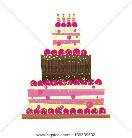 Birthday or wedding cake.Cartoon style sweet isolated on white background. International day of cake symbol.Vector illustration