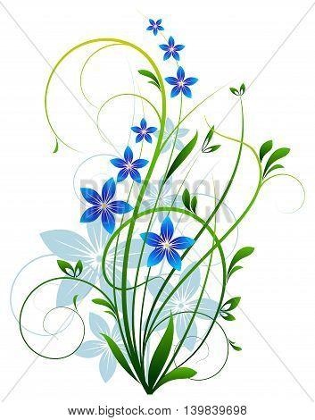 Spring winding grass with flowers on a white background