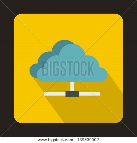 Cloud icon in flat style on a yellow background