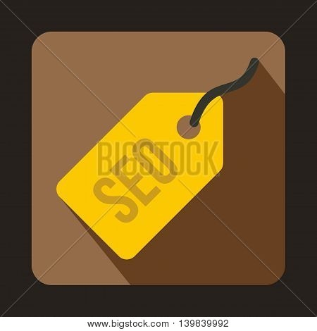 SEO yellow tag icon in flat style on a coffee background