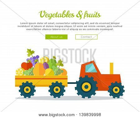 Vegetables fruits concept banner. Flat design. Delivering fresh products from farm to market. Tractor with trailer carries greens. Template for farmer, shop, transport company web page.