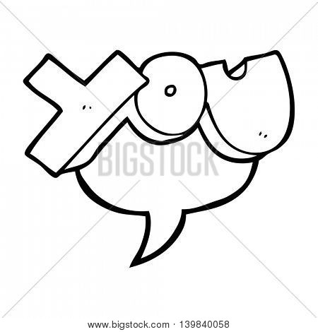 freehand drawn speech bubble cartoon you symbol
