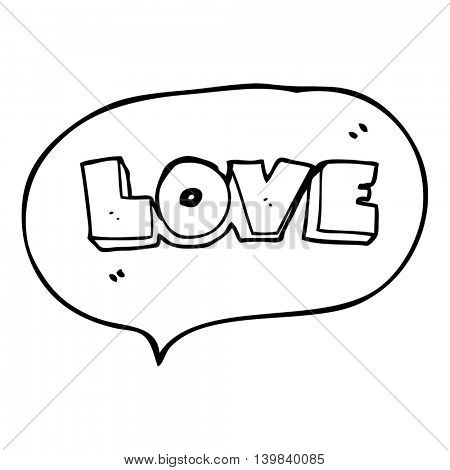 freehand drawn speech bubble cartoon word love
