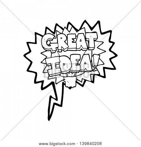 freehand drawn speech bubble cartoon GREAT IDEA! symbol