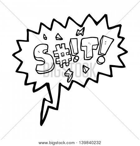 freehand drawn speech bubble cartoon obscured swearword