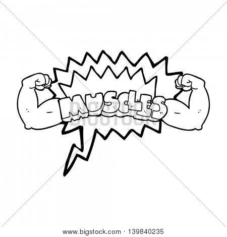 freehand drawn speech bubble cartoon muscles symbol