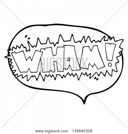 freehand drawn speech bubble cartoon wham! symbol