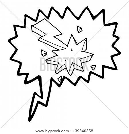 freehand drawn speech bubble cartoon lighting strike symbol