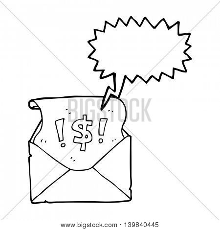 freehand drawn speech bubble cartoon abusive letter
