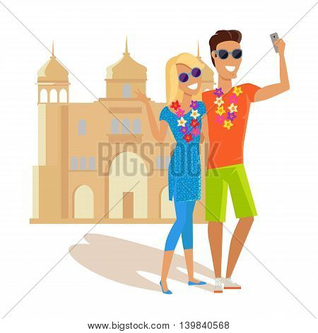 Summer vacation in India concept. Honeymoon in exotic country vector illustration. Selfie on background of famous historical monuments. Couple taking picture near asian historic building.